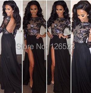 new 2015 women long sleeve black backless split Sequined evening dress - KC International Fashion Store store