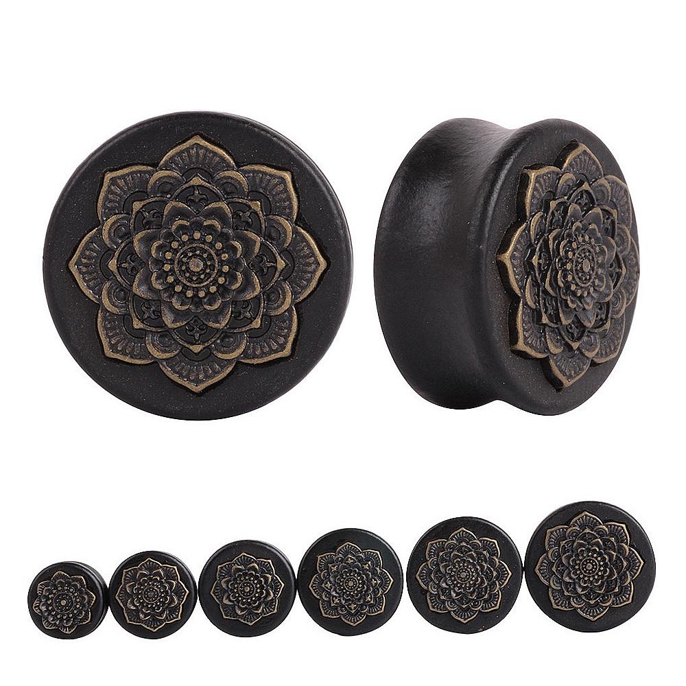 Pair Black Natural Wood Mandala Flower Ear Plugs Tunnels Ear Expanders Earring Gauges Piercing Plug Ears Body Jewelry(China (Mainland))