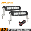 Auxmart 30W 8 inch Single Row Light Bar 5D CREE Chips LED Light Bar Combo Beam