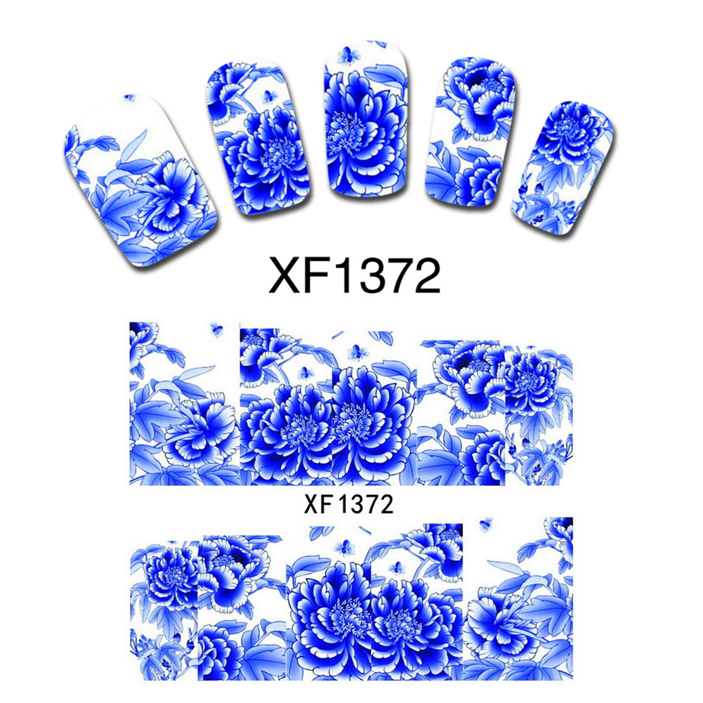 Blue Peony False Nail Art Accessory Nails Wrap Decals Water Transfer Wraps Stickers DIY Gift XF1372(China (Mainland))