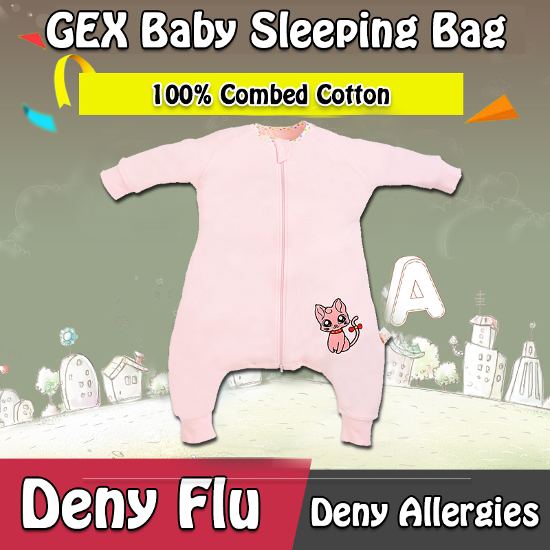 GEX(USA)Spring/Autumn 100% Combed Cotton Infant Baby Sleeping Bag Sleep Sack Blanket Swaddle Sleepwear Gown Quilt Laytte SFBPink(China (Mainland))