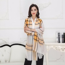 2016 Luxury Brand designer pure plaid Pashmina shawls cashmere tartan scarf for women Celebrity winter warm infinity 220*95cm