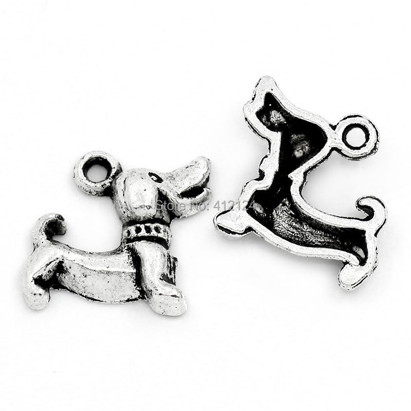 1250Pcs Wholesale Silver Tone DIY Charm Pendants Animal Dog Jewelry Making Component 18mmx15mm<br><br>Aliexpress