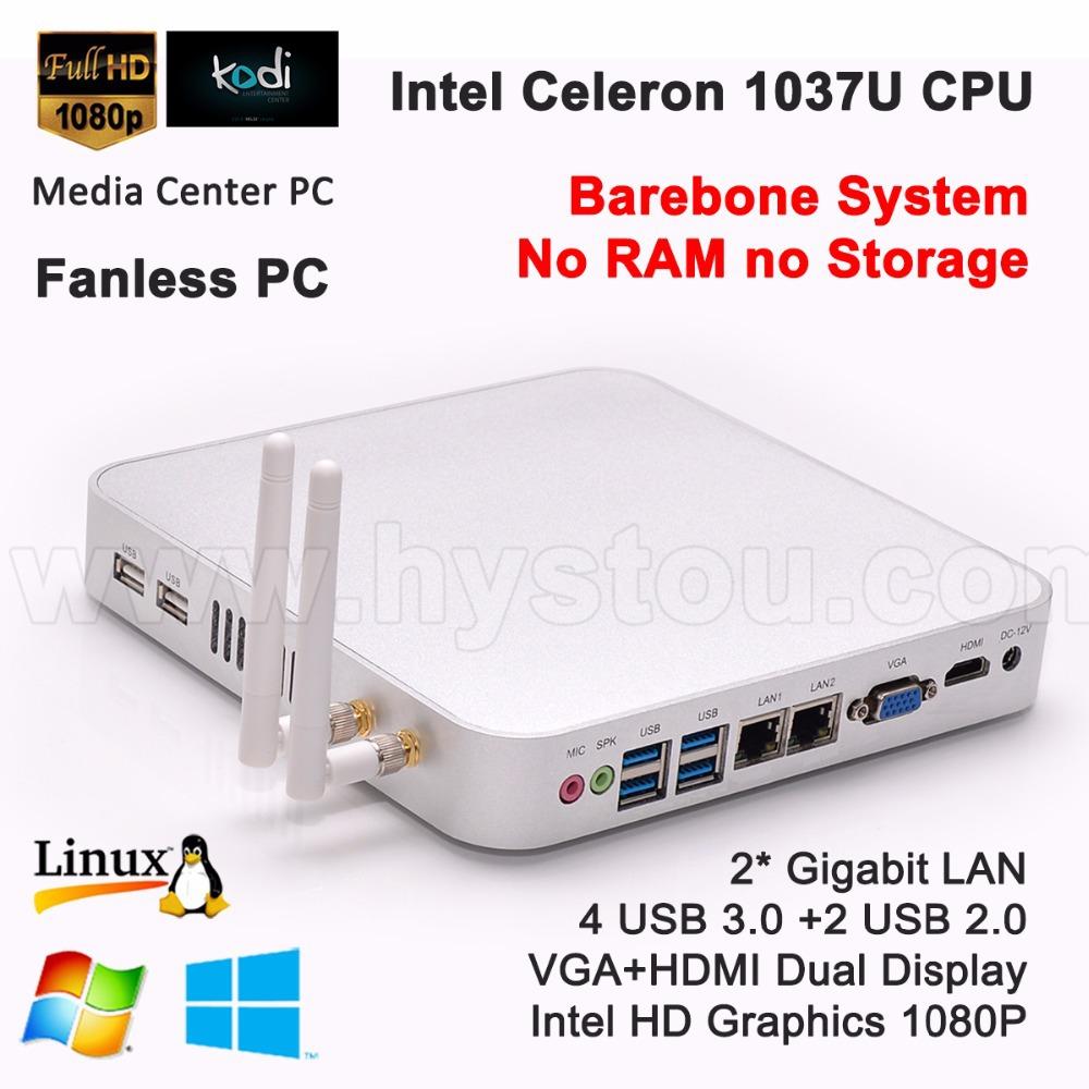 Hystou Barebone Mini PC C1037u Fanless Computer 1.8GHz INTEL Ivy Bridge USB 3.0 HDMI 2* RJ45 Gigabit Lan Free DHL shipping(China (Mainland))
