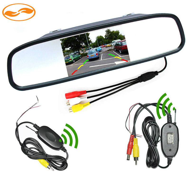 grenauto 4.3 Inch Car Rearview Mirror Monitor + 2.4Ghz Wireless Video Transmitter and Receiver Kit for Rear View Camera