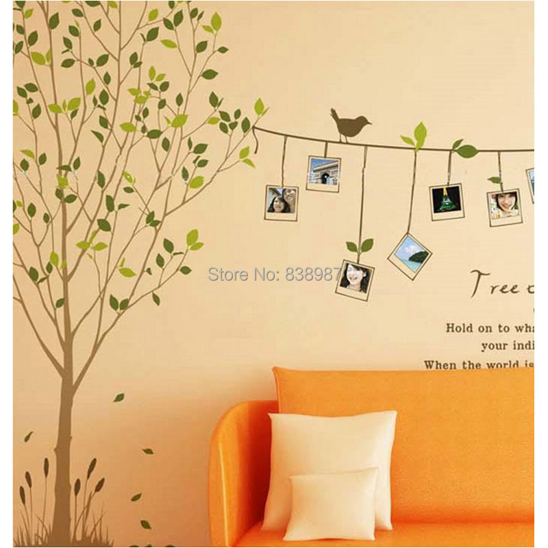 Free shipping hot selling photo tree wall decals diy for Diy tree wall mural