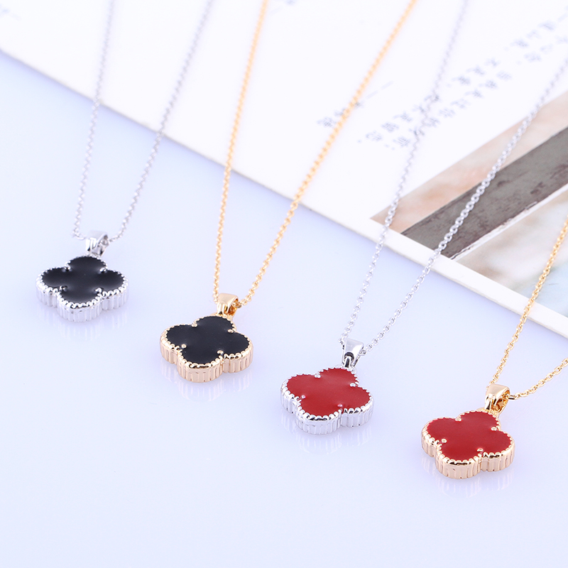 New Gift Popular Yellow Gold Wedding lovers Classic red and black clover Necklace Pendant Chain With White Zircon Jewelry Gift(China (Mainland))