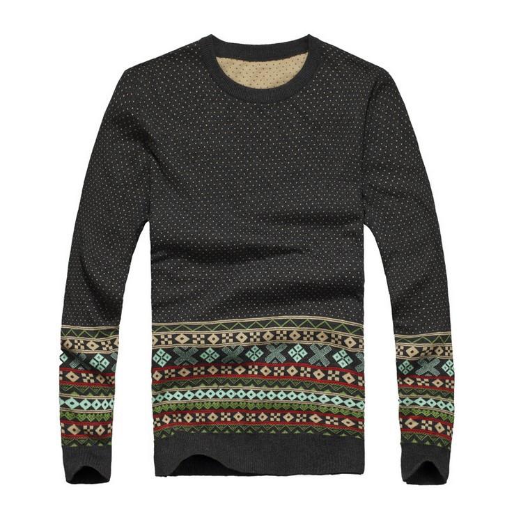 2015 новый бренд мужской свитера горошек шаблон человек о шею свитер мода трикотажные зимние пуловер на азиатский размер, a050
