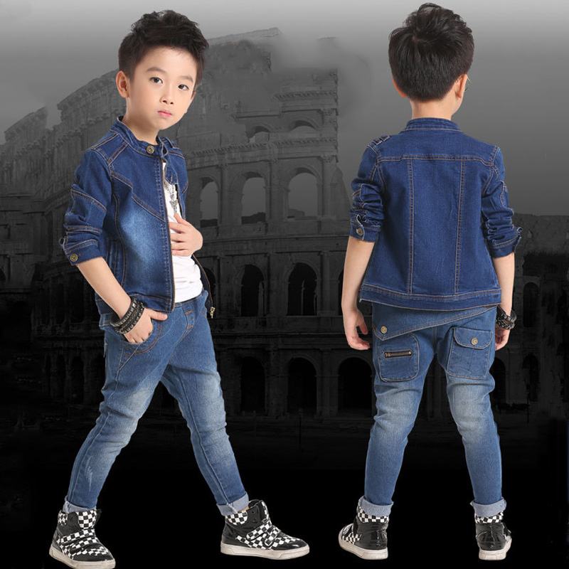 Spring Autumn Children's Sets, Concise Style Full Sleeve Denim Jackets with Zipper+Jeans Pants, Boy' s Jeans Wear Clothing Set(China (Mainland))