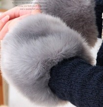 Thick Womens Winter Warm Wrist Arms Rabbit Faux Fur Bracelet Cuff Wristband Oversleeve Arm Warmmer 5pairs/lot Free Shipping(China (Mainland))