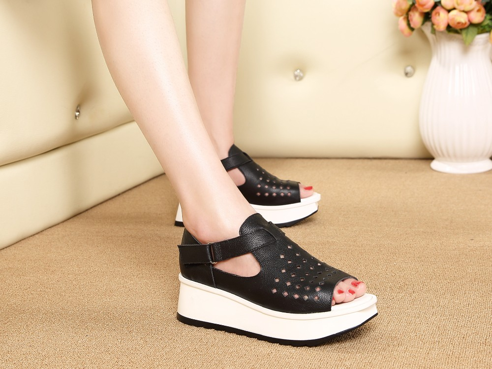 New summer women sandals Korean leather fish head waterproof famle Height Increasing shoes non-slip sandals Heel Height 3-5cm
