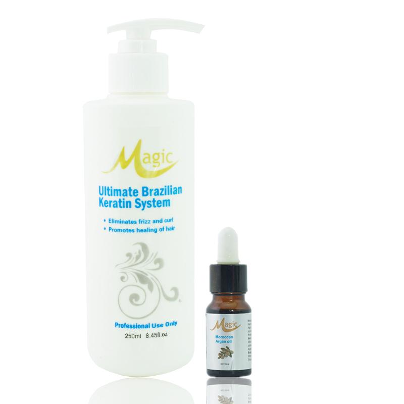 Buy 1 get 1 Magic keratin hair straightening 250ML keratin treatment Hot sale hair care repair 8% formalde get argan oil free(China (Mainland))