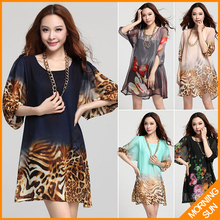 new arrival 2016 women summer casual korean boho sexy big size XXXL flowers leopard butterfly print short sarafan dress #078(China (Mainland))