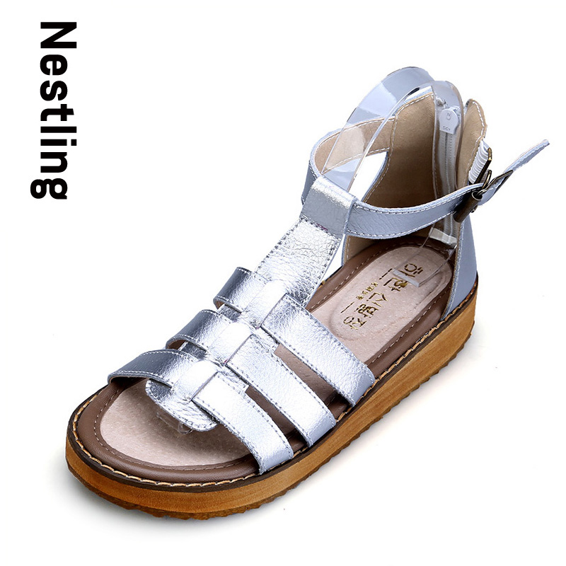 New 2017 Summer Genuine Leather Women Shoes Casual Fashion Women Gladiator Sandals T-Strap Wedges Platform Beach Shoes Woman(China (Mainland))