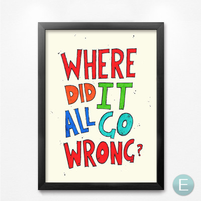 Where Do It All Go Wrong Modern company office inspirational word painting wall painting retro letter wall decor painting HD0462(China (Mainland))