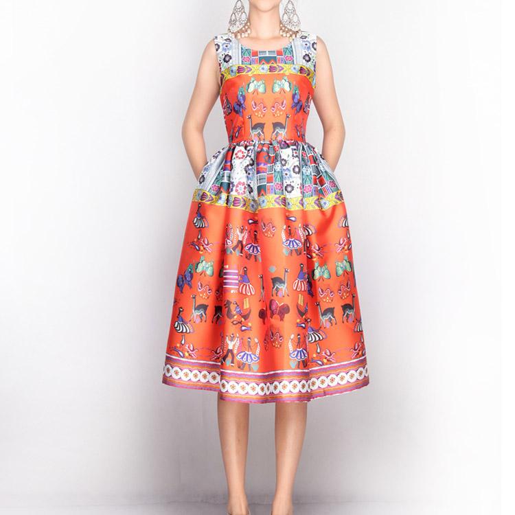 New 2016 spring summer vintage fashion flower patterns print women ball gown dress sleeveless cute orange cartoon casual dresses(China (Mainland))