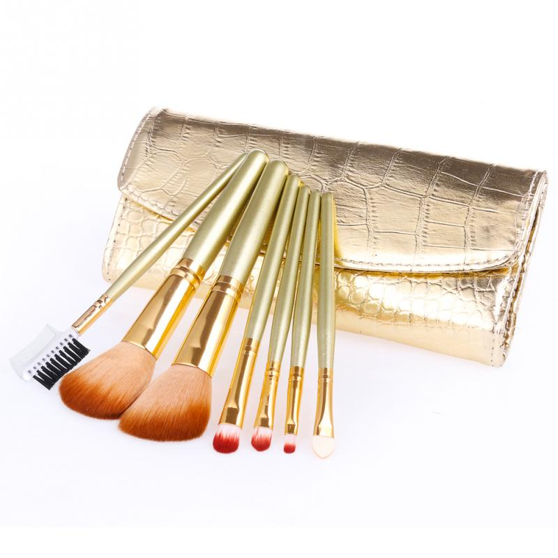 7pcs Golden Makeup Brushes Excellent Flexibility Soft PU Delicate Cosmetic Brush Beauty Accessories(China (Mainland))