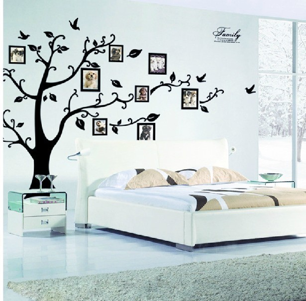 & 3D family photo frame Flying Birds tree wall stickers home decorations living room Bedroom decals posters pvc wall decal 2141(China (Mainland))