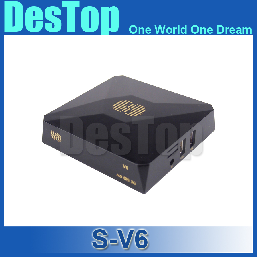 S-V6 Mini Digital Satellite Receiver S V6 Skybox V6 with AV HDMI output Support 2xUSB WEB TV USB Wifi 3G Biss Key Youporn 10pcs(China (Mainland))