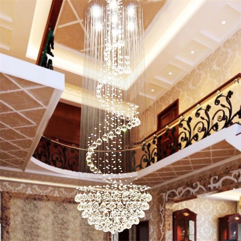 Chrome polished k9 crystal chandeliers modern spiral for Lustre suspension moderne