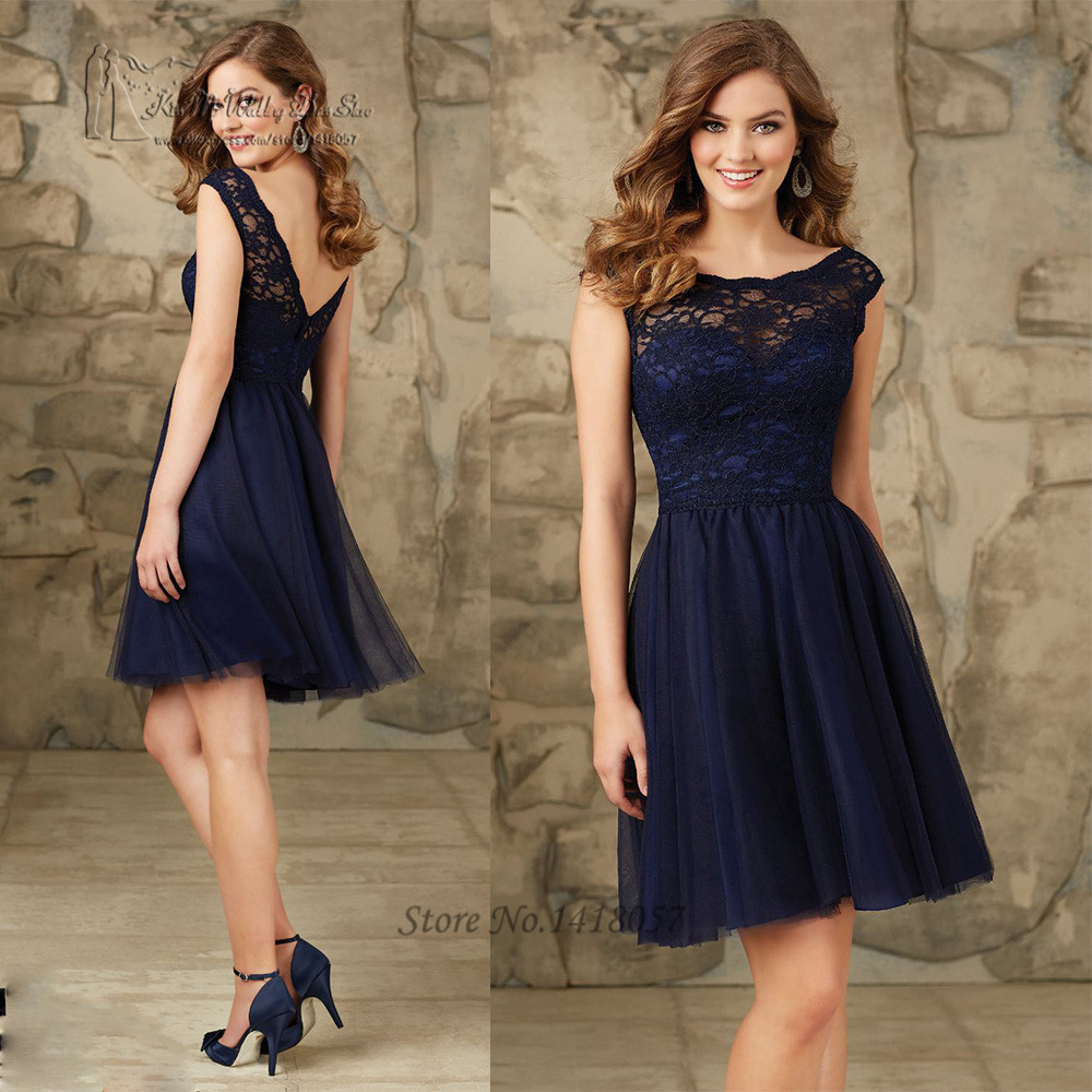 Buy navy blue wedding party dresses lace for Wedding reception party dress