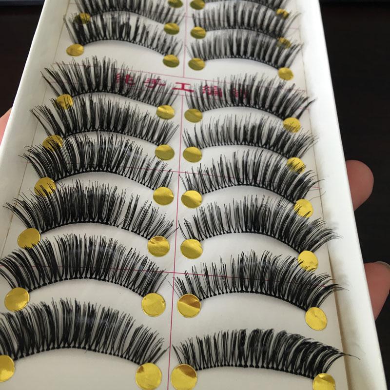 10 Pairs Makeup Handmade Natural Cross False Eyelashes Eye Lashes Thick Long Fake Eyelashes For Building(China (Mainland))