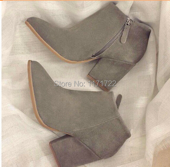 Spring autumn genuine leather pointed toe thick heel boots women high heeled martin boots nubuck leather side zipper ankle booty(China (Mainland))