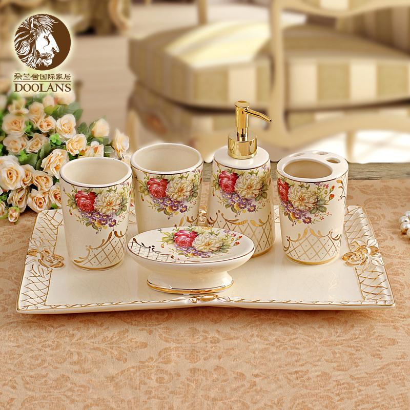 Fashion gold ivory ceramic six pieces bathroom set cup for Wedding bathroom kit