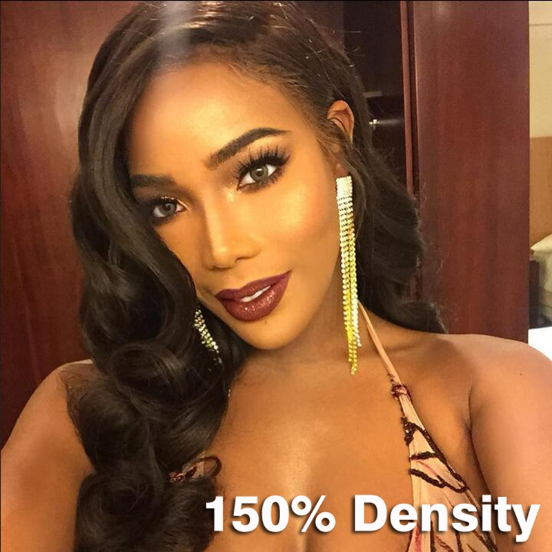Unprocessed Virgin Brazilian Glueless Full Lace Human Hair Wigs For Black Women Natural Wave Side Part 150 Density Full Lace Wig