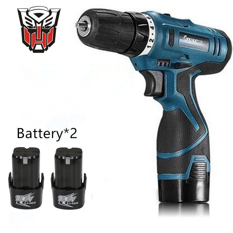 16.8V Multifunction Rechargeable Lithium Battery*2 Torque Electric Drill bit cordless Electric Screwdriver hand wrench tool set(China (Mainland))
