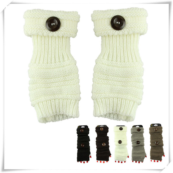 Newly Design Women Winter Button Knit Arm Warmers Open Thumb Texting Fingerless Wrist Gloves May26(China (Mainland))