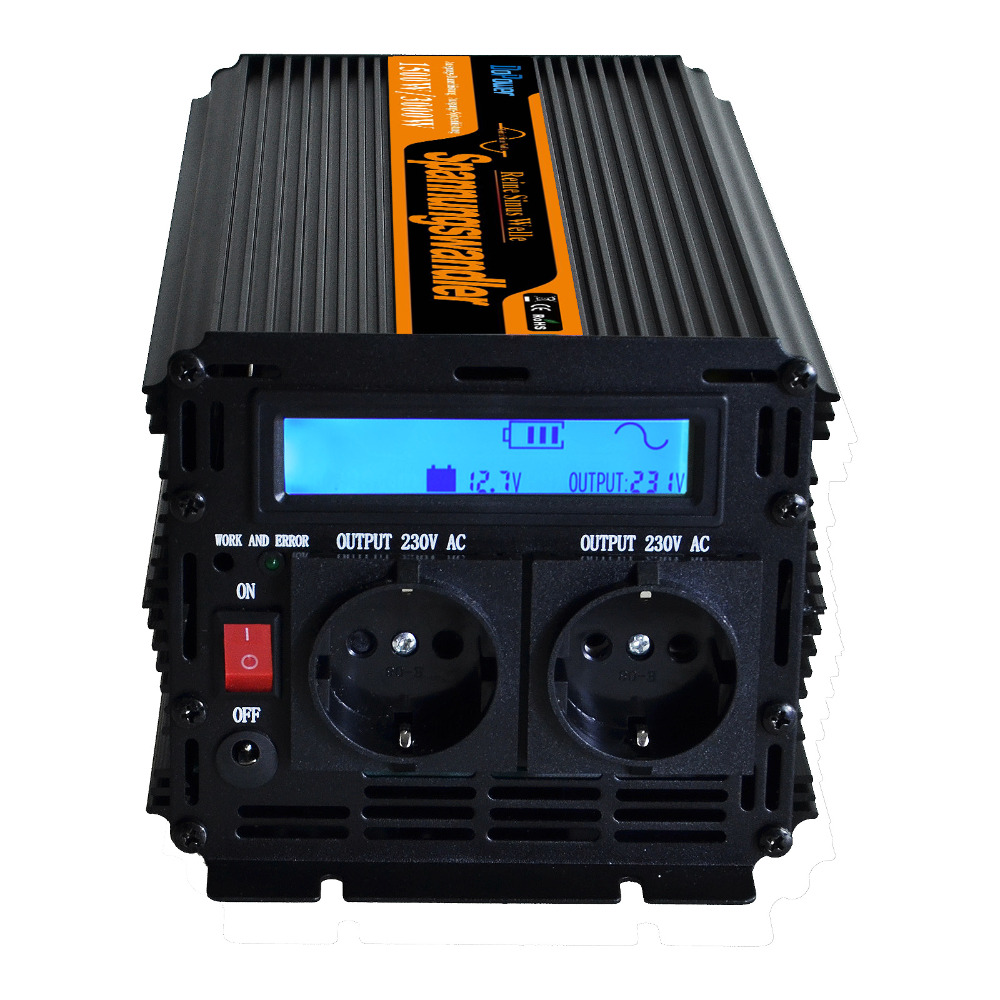 off grid LCD Dispaly inverter 12v 220v 230v 1500w (peak 3000w) pure sine wave inverter converter with wired remote controller(China (Mainland))