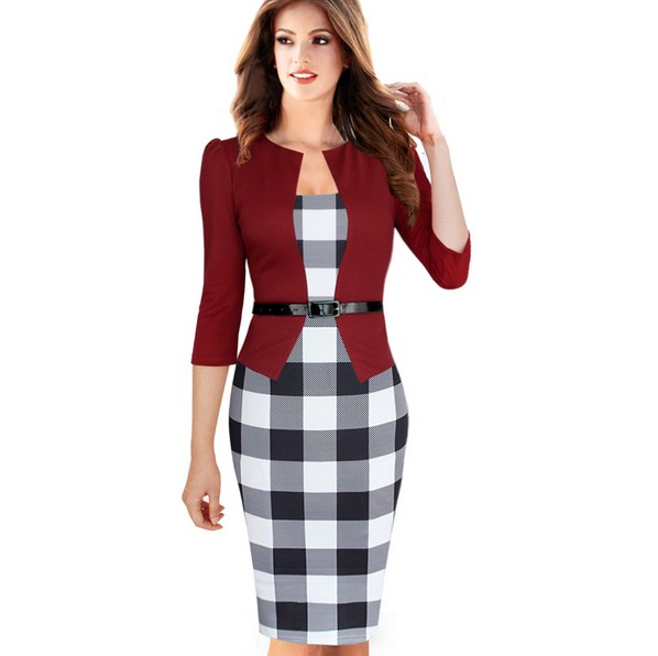 Womens Elegant Faux Twinset Belted font b Tartan b font Check Plaid Patchwork Wear to Work