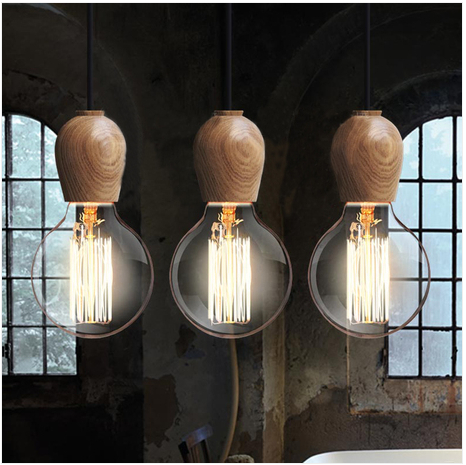 Single Head DIY Wood Small Pendant Light Simple Creative Wooden Pendant Light Edison Bulb Single Head Vintage Pendant Light