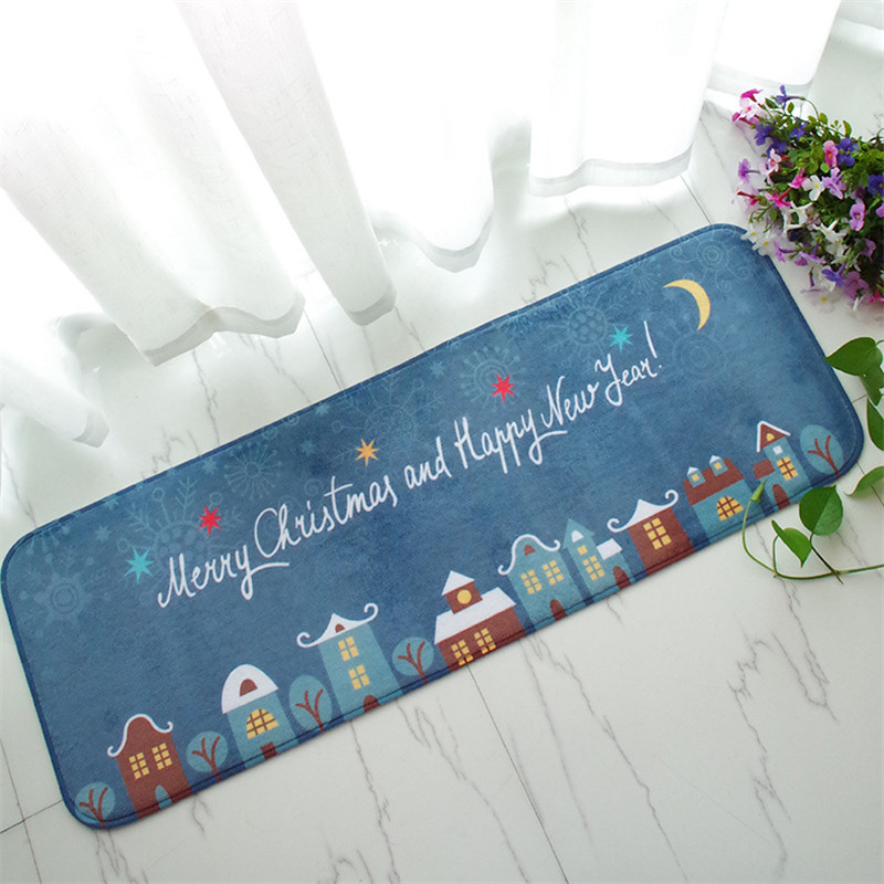 Home rug Christmas carpet blue Kitchen rugs Antislip floor mat Santa Claus bed rug 40*120cm door mat anitskid Deer socks snowman(China (Mainland))