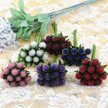 12pcs Small Berries Artificial Flower Red Cherry Stamen Pearlized Wedding simulation glass pomegranate Decoration(China (Mainland))