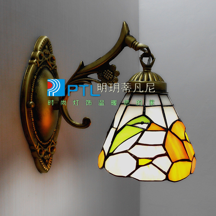 Fashion parrot rustic flower glass lighting fitting bedroom lamp ofhead mirror light single head wall lamp<br><br>Aliexpress