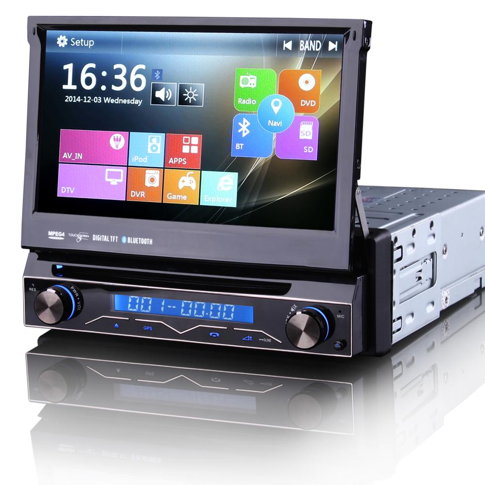 """7"""" Touch Screen One Din Car DVD 1 Din Car Radio Single Din Car GPS with Car Recorder Input & Detachable Front Panel(China (Mainland))"""
