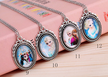2014 New fashion vintage design mix Frozen cartoon pendants long chain necklace jewelry gift for women