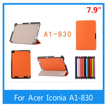 For Acer Iconia A1-830 7.9 inch Tablet Shielding Extremely Slim PU Leather-based Stand Case Cowl+ Free Stylus