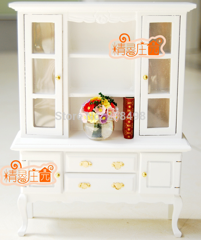 Free Shipping ! wood Delicate 3 Layer Showcase/Cabinet with Drawers white color ~1/12 Scale Dollhouse Miniature Furniture gift(China (Mainland))