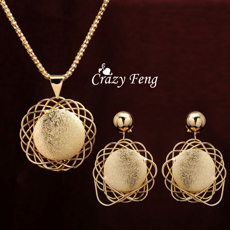 Crazy Feng Free shipping 18k Yellow Gold Plated Dubai African Jewelry Sets Pendant Necklace Drop Earrings Sets Gifts For Women(China (Mainland))