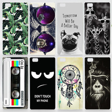 Case For Huawei Ascend P8 Lite P8 P7 P6 Colorful Transparent Printing Drawing Plastic Hard Phone Cover for Huawei P8 Lite P7 P6(China (Mainland))