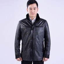 Free shipping Men's Leather Jackets Soft Sheepskin Fur Leather Coats Casual Outerwear Male Winter Fur Thick warm Overcoat(China (Mainland))