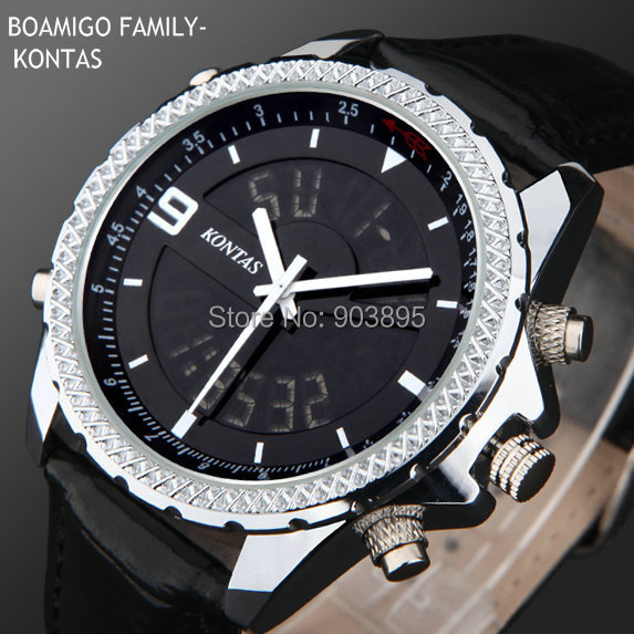 Гаджет   luxury brand watches men sports military fashion watches Dual Time Quartz Analog Digital  LED leather strap wristwatches None Часы