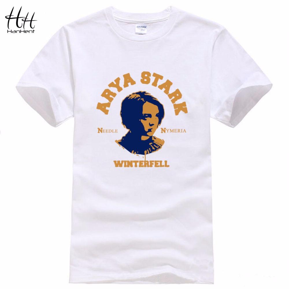 HanHent Arya Stark T-shirt High quality Cotton Mens T shirt 2016 Summer Style Streetwear Winterfell Sport Tshirt Game of thrones(China (Mainland))