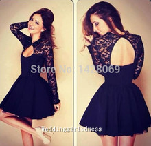 Jewel A-line Black Lace manches longues robes de bal 2015 Appliques col haut Backless Short Mini robes de bal robes de Cocktail(China (Mainland))