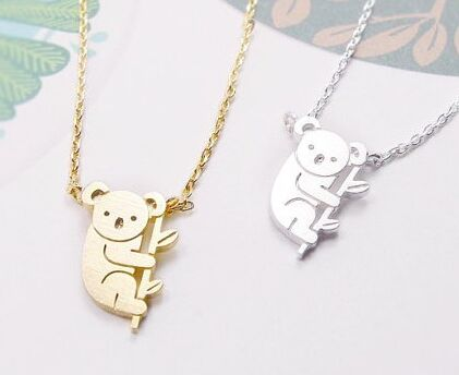 2016 Fashion Spring Style Plain Bear Shape Women Necklaces Trendy Long Chain Statement Pendant Necklaces For Women XL136(China (Mainland))