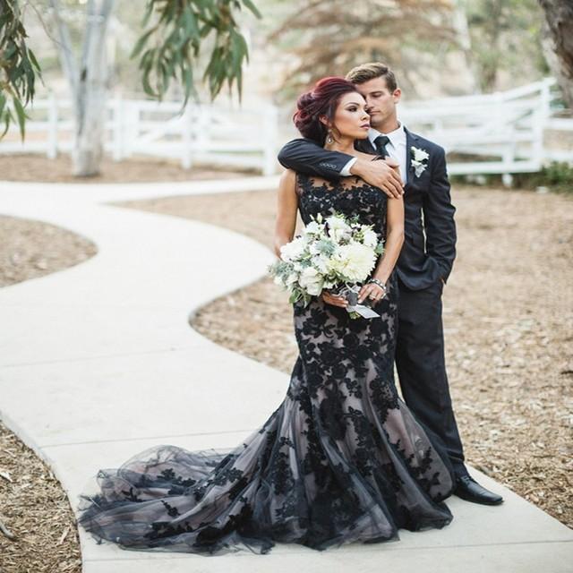 Vestidos novia cortos сексуальный русалка кружево свадьба платье черный аппликация отвесные свадебные платья длинная поезд сделано в китай
