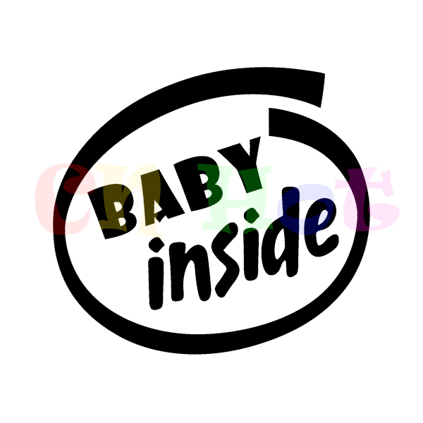 Baby Inside Baby On Board Funny Sticker For Car Kid Infant Vinyl Decal Reflective Stickers(China (Mainland))